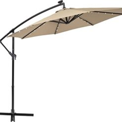 PHI VILLA 10ft Offset Hanging Umbrella with 32 PCS LED Lights Solar Powered Patio Umbrella with Crossbase