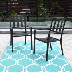 PHI VILLA Black Outdoor Patio Metal Steel Dining Arm Chairs Set of 2
