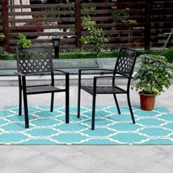 PHI VILLA 300lbs Wrought Iron Outdoor Patio Bistro Chairs with Armrest